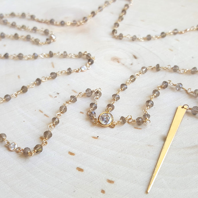 Smoky Quartz and CZ Spike Lariat