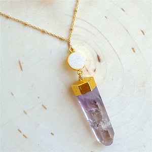 Amethyst and Druzy Pendant