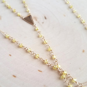 Yellow Zircon Rosary Lariat
