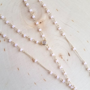 Pink Chalcedony Rosary Lariat