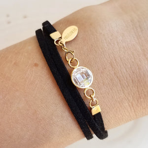 Cubic Zirconia Leather Wrap Bracelet