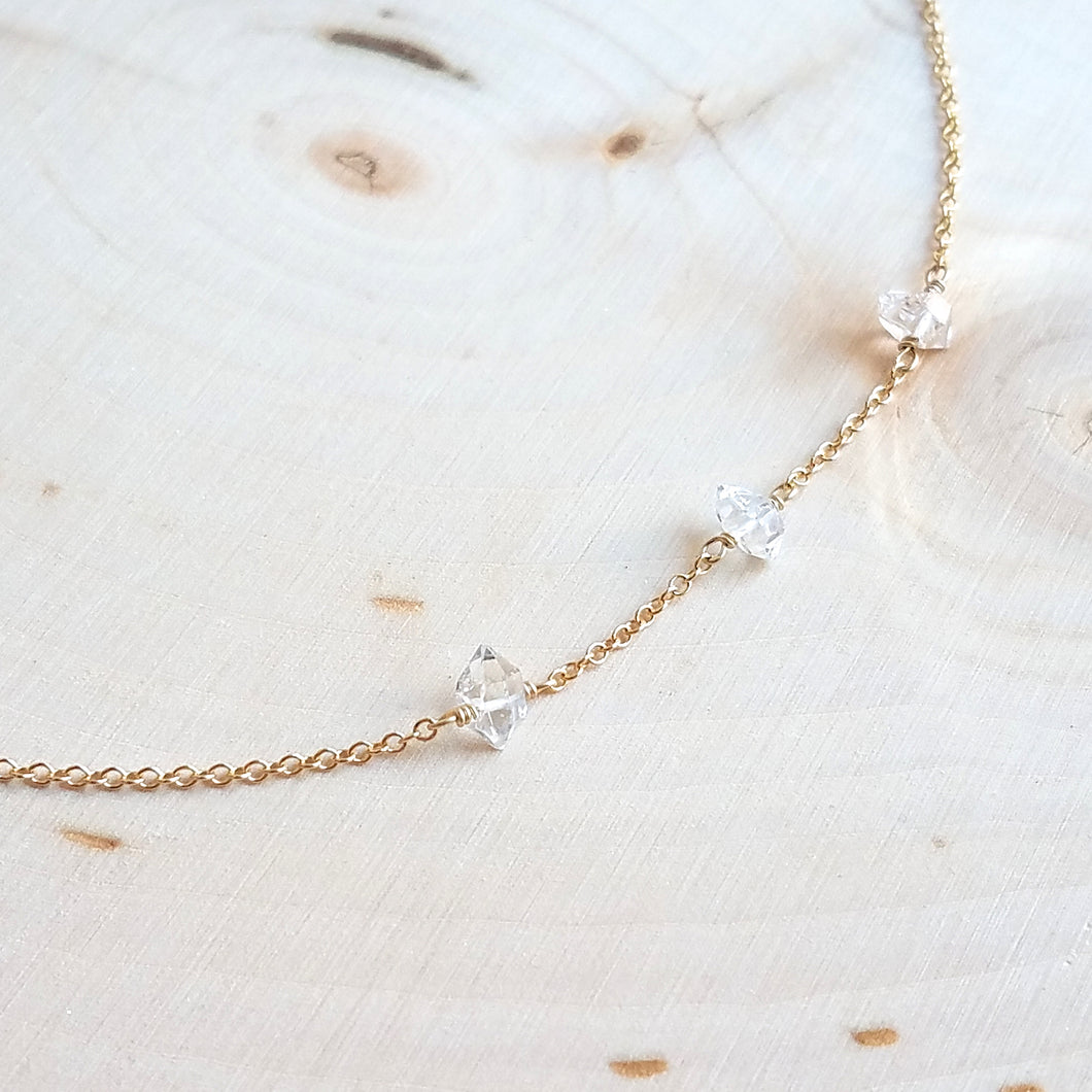 Triple Herkimer Diamond Necklace