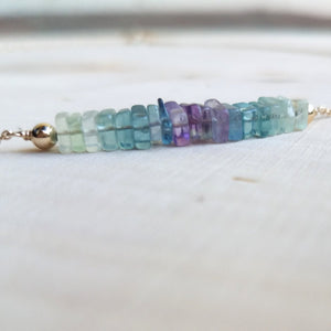 Ombre Fluorite Beaded Bar Necklace