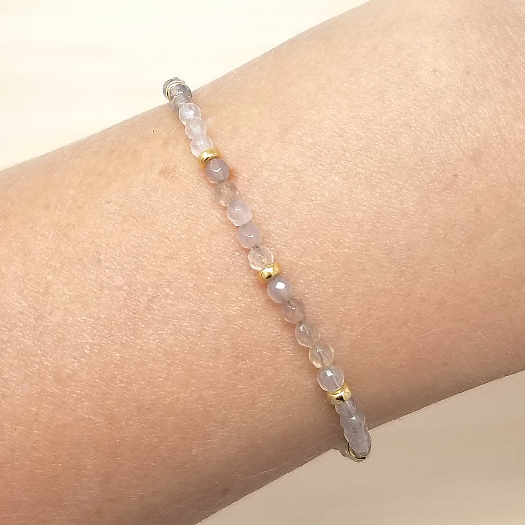 Gray Agate Beaded Bracelet