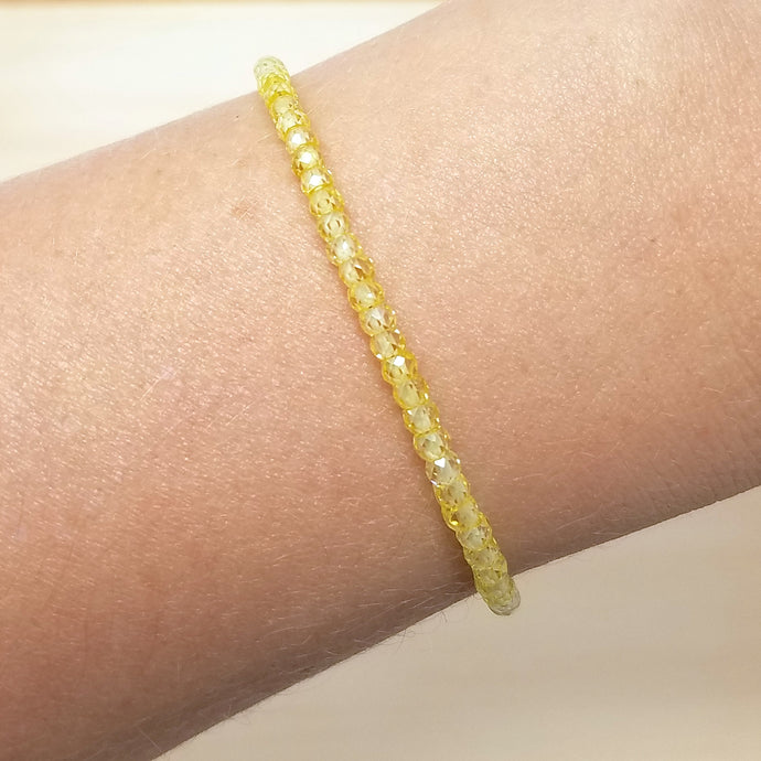Yellow Zircon Beaded Bracelet