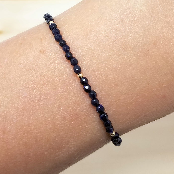 Blue Goldstone Beaded Bracelet