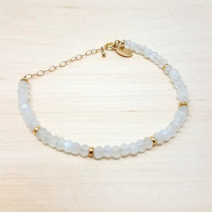 White Moonstone Beaded Bracelet