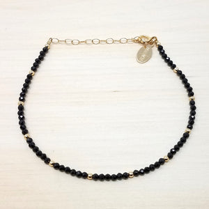 Black Spinel Beaded Bracelet