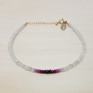 Ombre Ruby Moonstone Beaded Bracelet