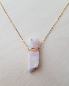 Gold Wrapped Pink Opal Necklace