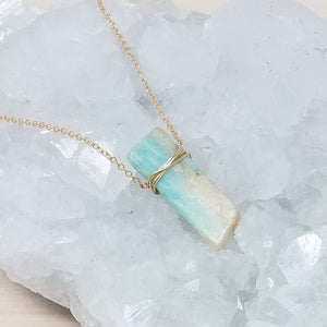 Gold Wrapped Amazonite Necklace