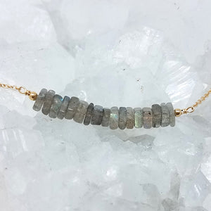 Heishi Labradorite Beaded Bar Necklace