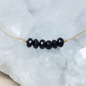 Black Spinel Beaded Bar Necklace
