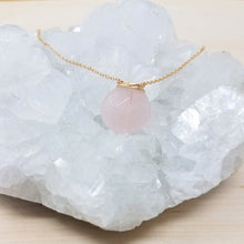 Gold Wrapped Rose Quartz Necklace