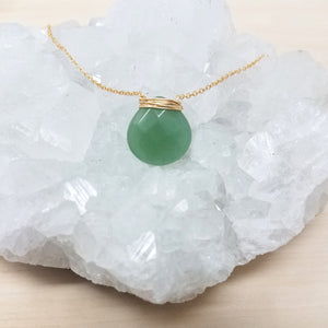 Gold Wrapped Green Aventurine Necklace