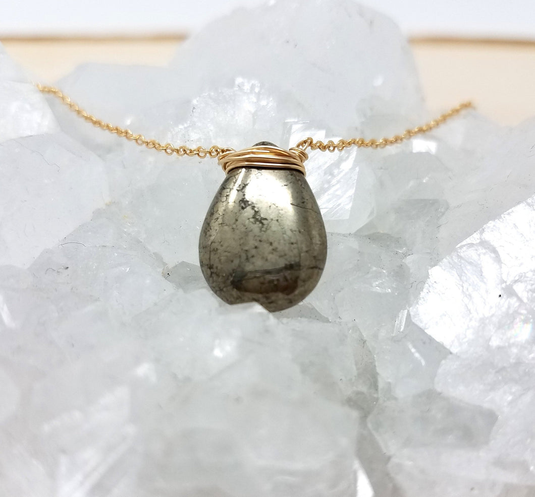 Gold Wrapped Pyrite Necklace