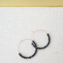 Black Spinel Beaded Hoops