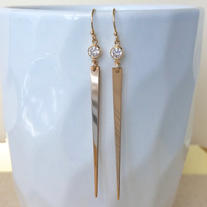 Long CZ Spike Earrings White