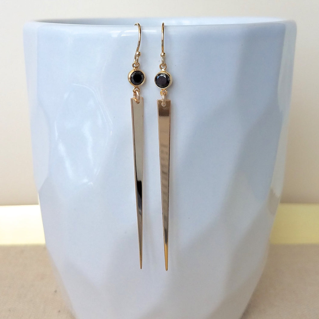 Long CZ Spike Earrings Black