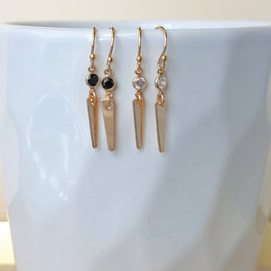 Mini CZ Spike Earrings Black