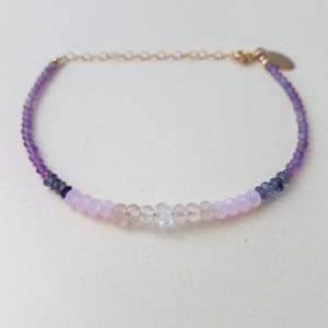 Ombre Amethyst and Herkimer Beaded Bracelet WS