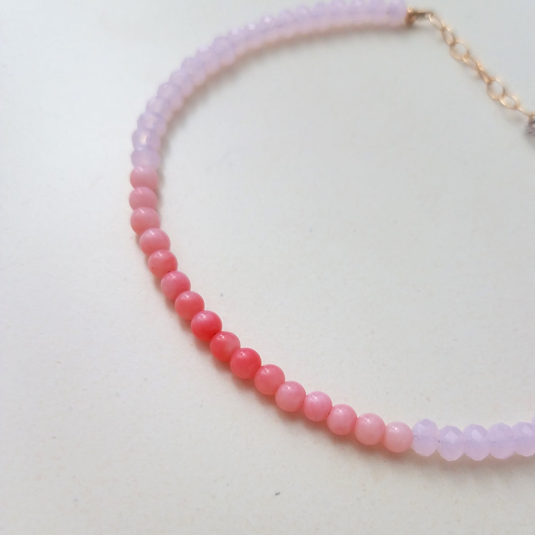 Ombre Pink Chalcedony and Coral Beaded Bracelet