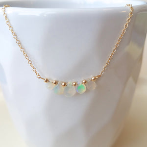Opal Droplets Necklace - October Birthstone