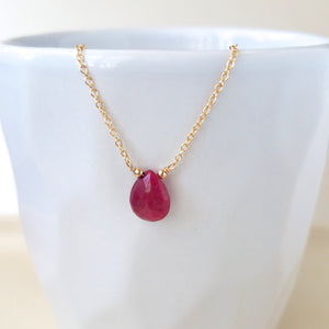 Ruby Drop Necklace - July Birthstone