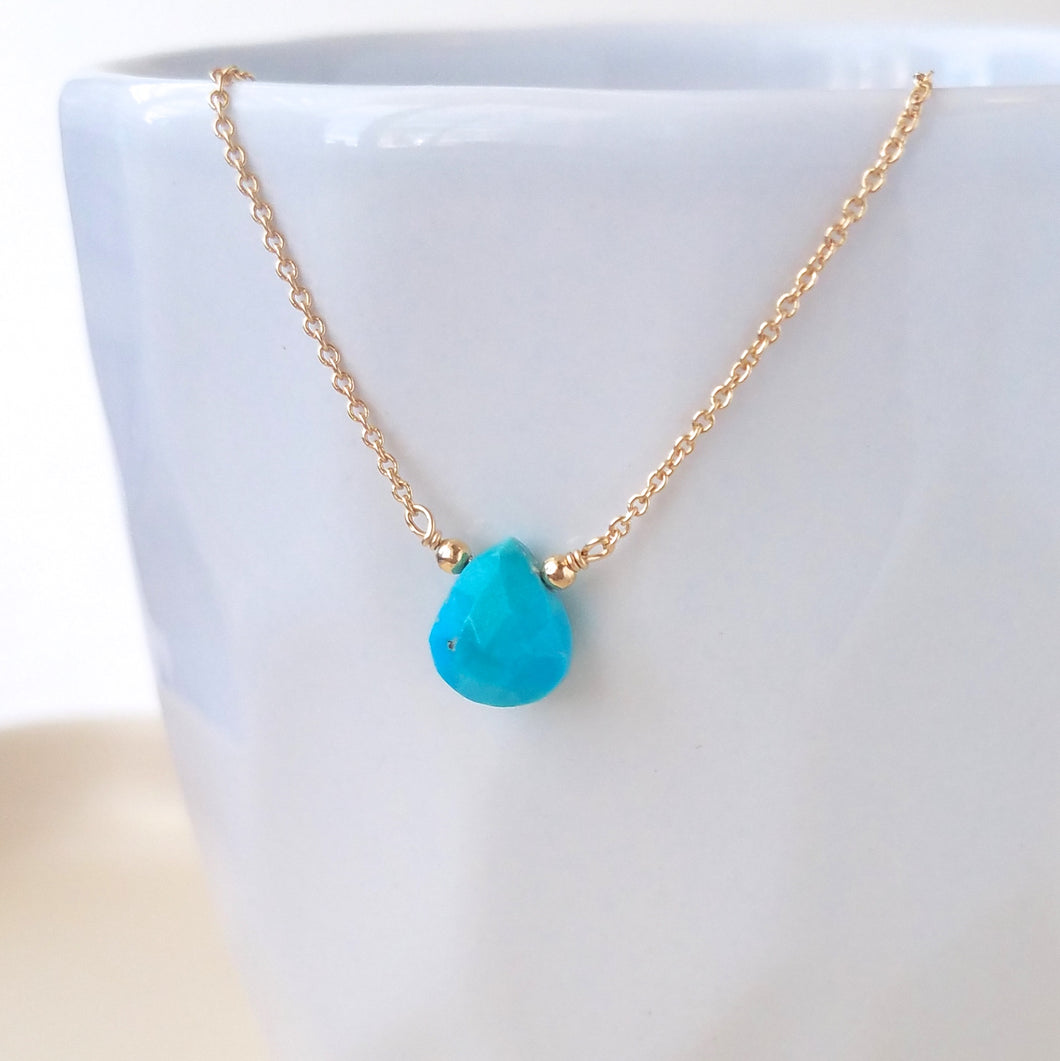 Turquoise Drop Necklace - December Birthstone