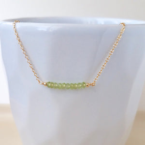 Peridot Bar Necklace - August Birthstone