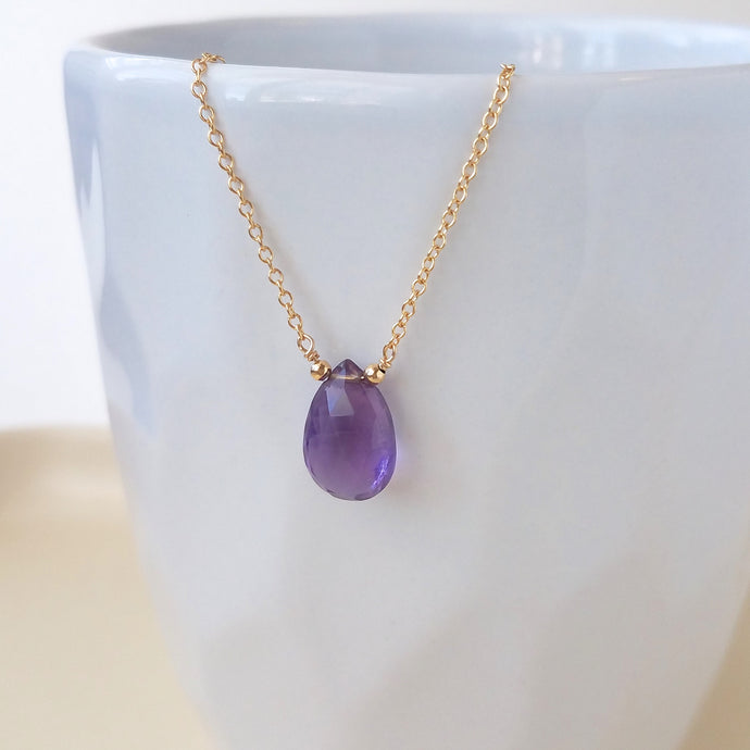 Amethyst Drop Necklace - February Birthstone