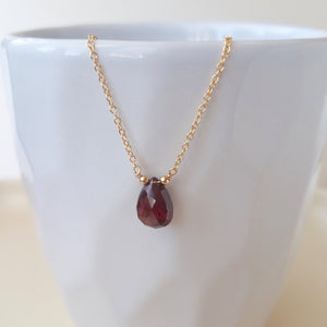 Garnet Drop Necklace - January Birthstone