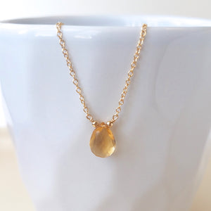 Citrine Drop Necklace - November Birthstone