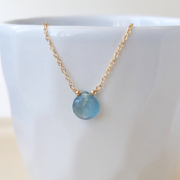 Aquamarine Drop Necklace - March Birthstone