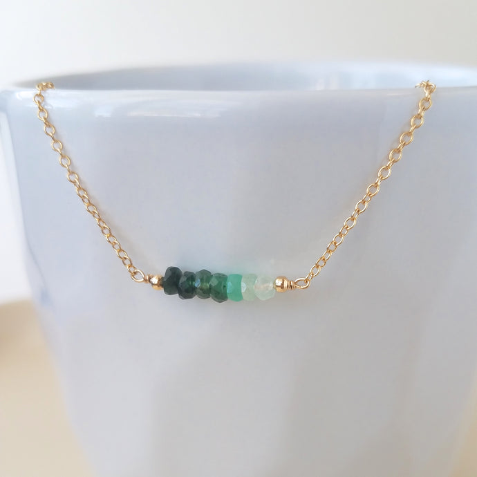 Ombre Emerald Bar Necklace - May Birthstone