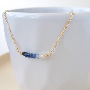 Ombre Sapphire Bar Necklace - September Birthstone