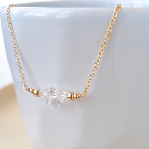 Herkimer Diamond Bar Necklace - April Birthstone