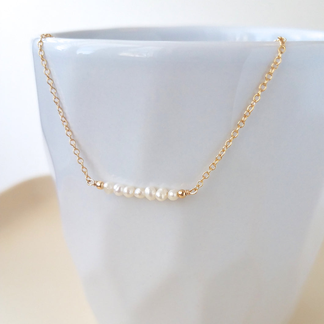 Pearl Bar Necklace - June Birthstone