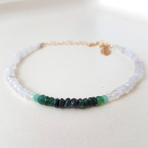 Emerald Moonstone Beaded Bracelet