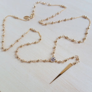 Mini Gold Rosary Lariat