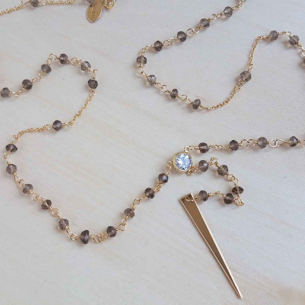 Mini Smoky Quartz Rosary Lariat
