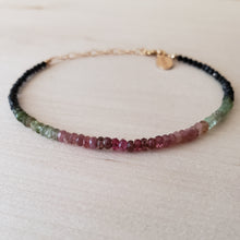 Ombre Watermelon Tourmaline Beaded Bracelet