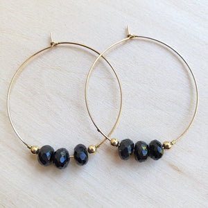 Black Spinel Hoops