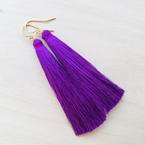 Short Tassel Earrings - Purple