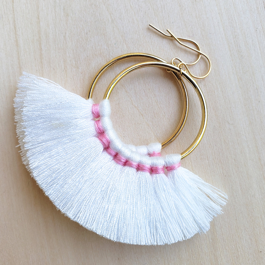 White Fringe Hoops