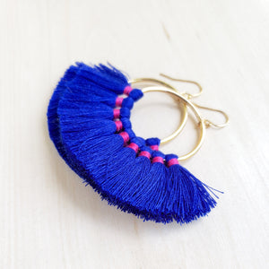 Blue Fringe Hoops