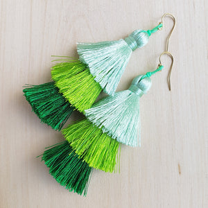 Layered Tassel Earrings - Green