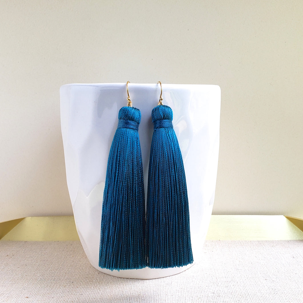 Long Tassel Earrings - Teal