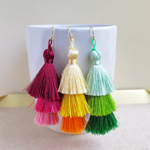 Layered Tassel Earrings - Pink