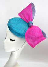 Sinamay Big Bow Button Fascinator - Aqua Blue & Fuchsia